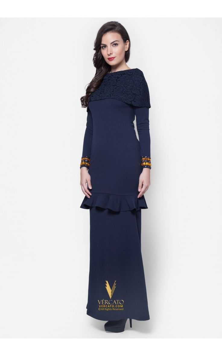 Baju Kurung Moden Lace - Vercato Amelia in Navy Blue. Buy baju kurung moden with lace crochet shoulder cape and embellished rhinestones. SHOP NOW: www.vercato.com