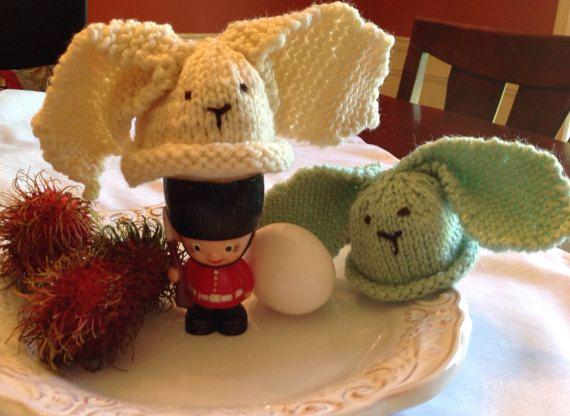 Ready to ship, Cream, Knit egg cozy, egg warmer, Cream bunny egg cozy, bunny egg warmer