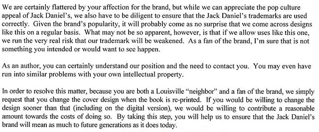 Excellent application of core values in a cease and desist letter turns into a marketing boon for Jack Daniels Whiskey.