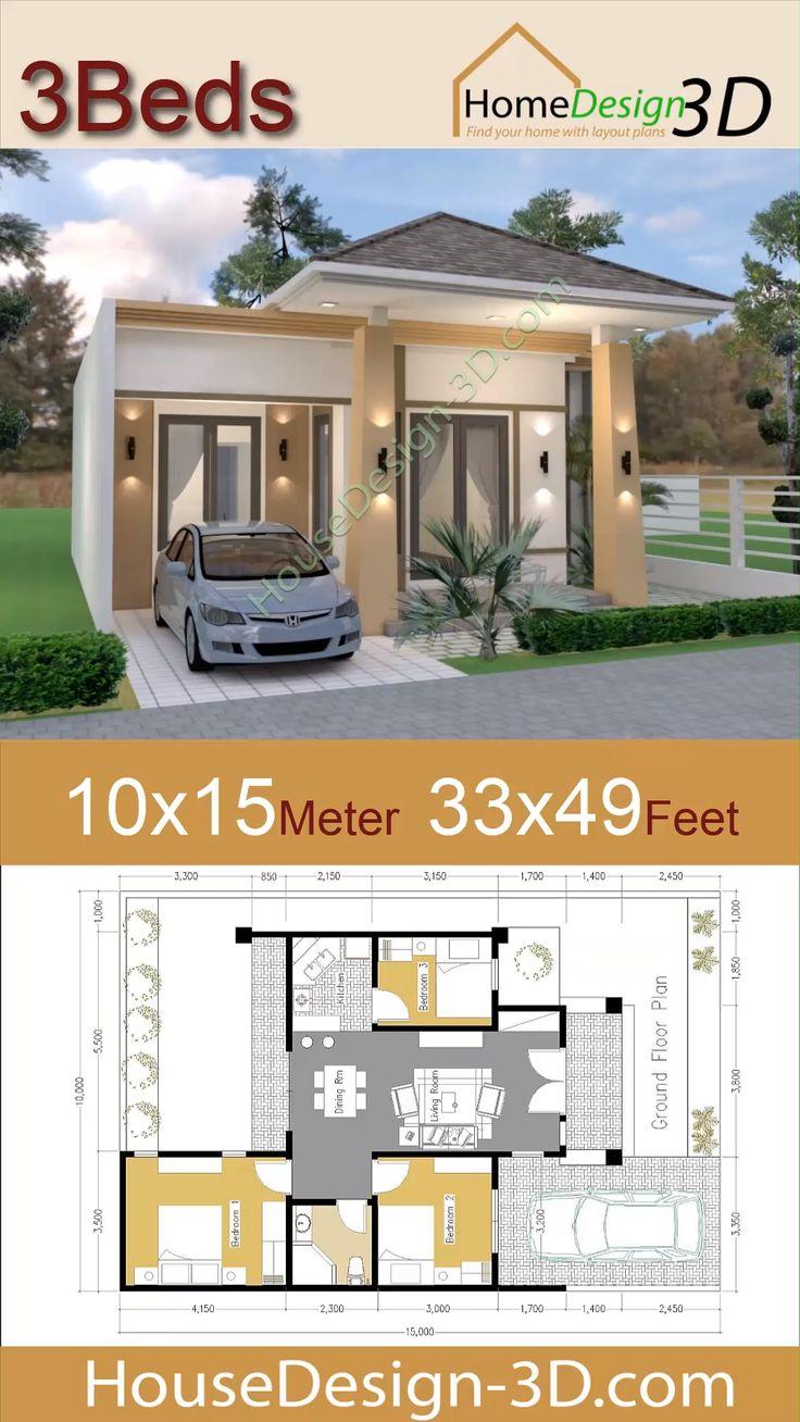 10x15 Room: House Design 10x15 Meters 33x49 Feet With 3 Bedrooms