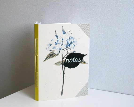 Blue flowers notebook  A6 by 10antemeridiem on Etsy, $12.00