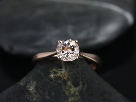Flora 14kt Rose Gold Round Morganite Tulip Cathedral Solitaire Engagement Ring