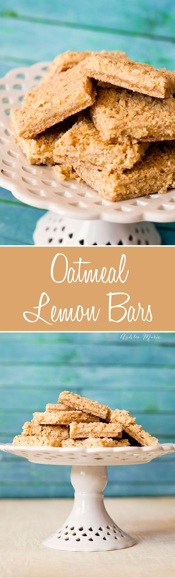 these oatmeal lemon bars are different from traditional bars, they have a great crust, top and bottom with a tart, creamy lemon center