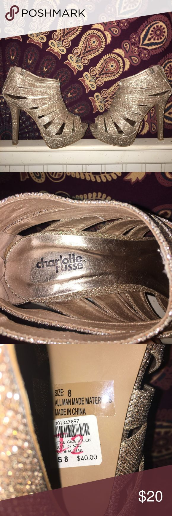 Gold Heels Charlotte Russe gold heels. Perfect for prom, homecoming, or going out. Very comfortable. Can fit a size 8 - 8.5 ORIGINALLY $40 price is negotiable Charlotte Russe Shoes Heels