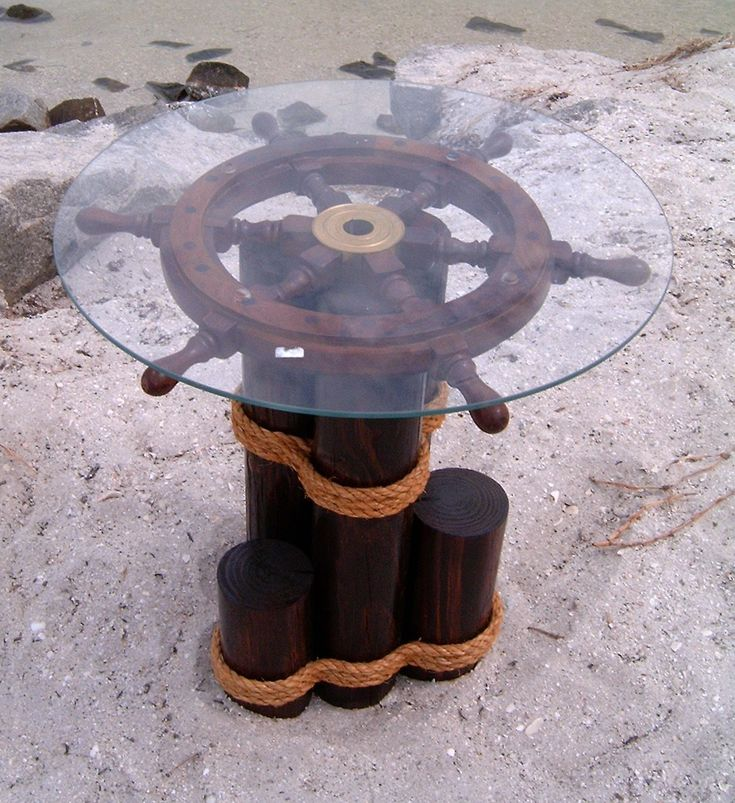 Image detail for -... wheel coffee table. Ships wheel end table