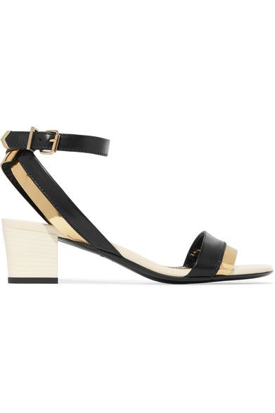 Lanvin - Metallic-trimmed Leather Sandals - Black - IT40.5