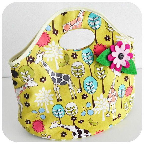 Nina Handbag , back to School bag PDF Pattern and Tutorial multipurpose bag, lunch bag, easy sew, 2 size options, children, FREE Shipping