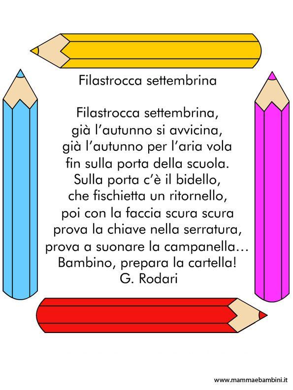 Filastrocca per bambini sullinizio della scuola