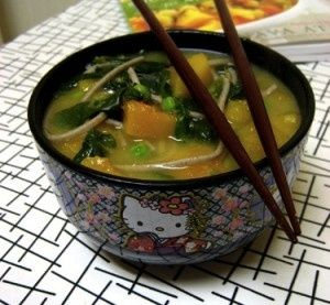 """MISO-BUTTERNUT SQUASH SOUP  Once you've got the squash baked, this Japanese-style soup comes together quickly, and is as pleasing to the eye as it is to the palate. Use chopsticks for """"slurping"""" the noodles."""