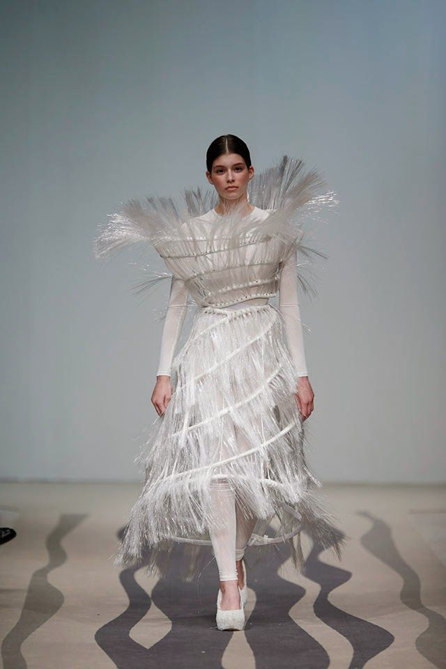 Sculptural Fashion - fibre optic hoop dress; conceptual fashion design // Olga Noronha Spring 2015