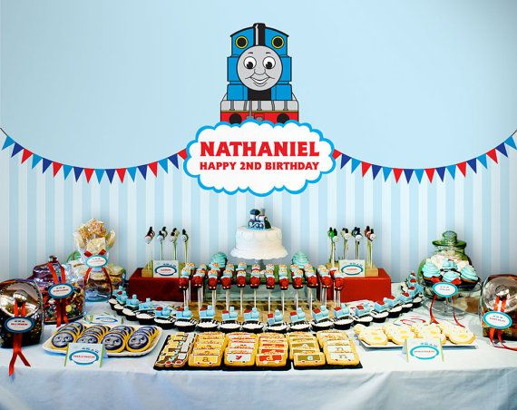Printable backdrop Thomas and Friends party by envyanvi on Etsy