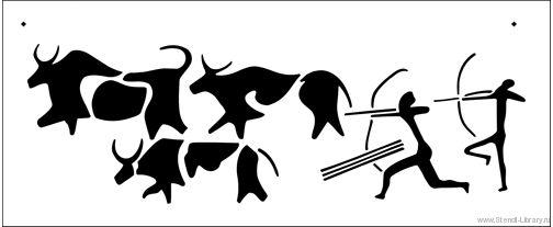 Наскальные рисунки - Трафареты для декора :: Африка - купить с доставкой без предоплаты :: изготовление трафаретов для стен под покраску по каталогу и на заказ