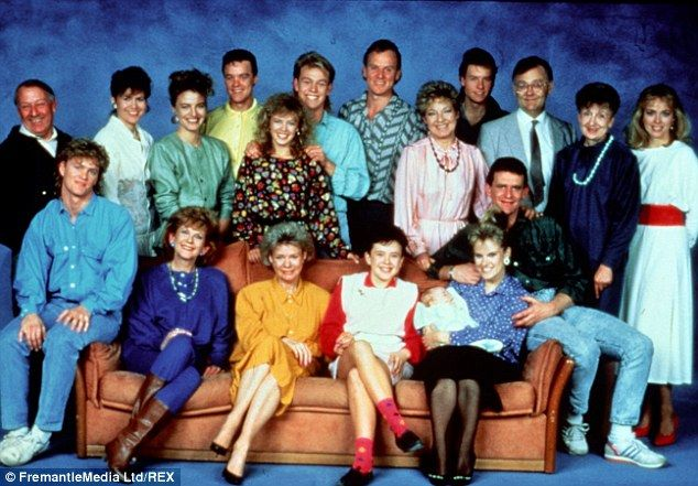 The original Neighbours line-up including Kylie Minogue and Jason Donovan, back centre. The Stefan Dennis, back row fourth from right, is the only original cast member still on the show 30 years later
