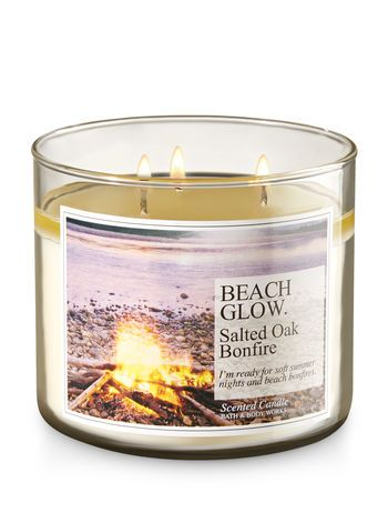 Beach Glow - Salted Oak Bonfire 3-Wick Candle - Bath And Body Works