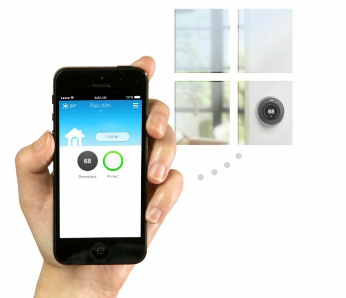 Nest, thermostat, mobile app. Control heating via mobile if you´re not home, http://nest.com