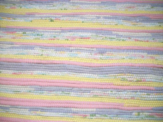 Woven Rag Rug Yellow Pink Blue and White Rug 60 by grandmachris   152.4 cm×60cm