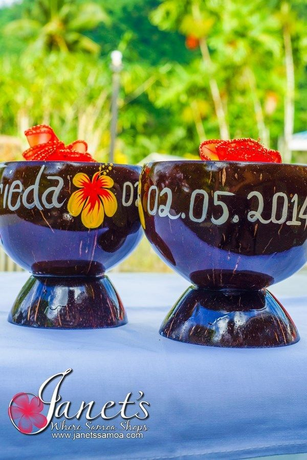 Janet's - Painted Popo Cups for Weddings      Cups made completely of Coconut Shell     Custom Hand Painted to your needs     Great for Samoan Weddings, Corporate Functions and Family Reunions etc     Discounts on Bulk Orders     Contact info@wheresamoashops.com