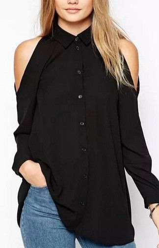 Casual Long Blouse with Uncovered Shoulders.