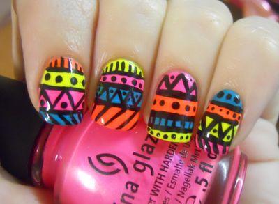 Neon Tribal Nail Art