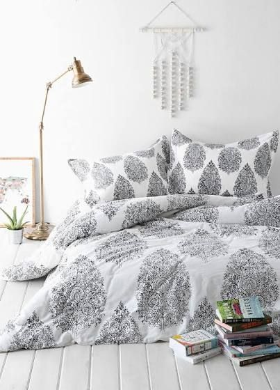 white and grey comforter