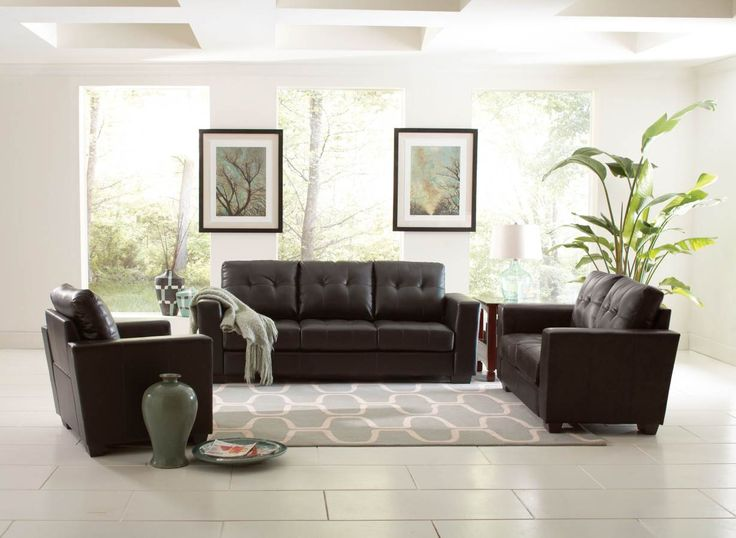 Enright Black Tufted Sofa Set With Track Arms