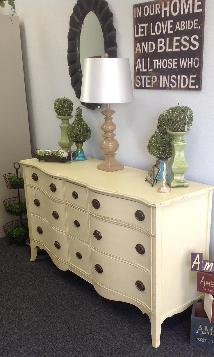 Antique dresser, painted, in Cream Chalk Paint® decorative paint by Annie Sloan!