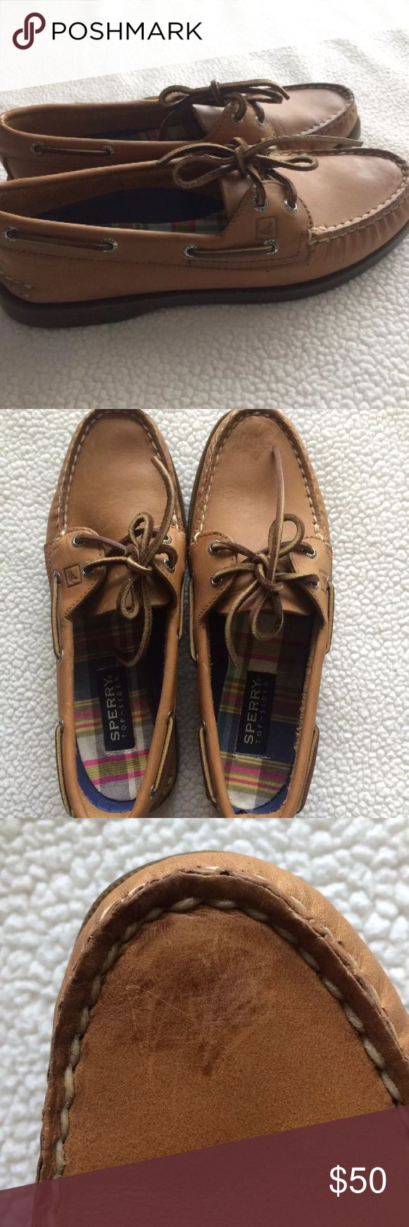 NWOT Sperry Top-Sider Women's Brown Boat Shoes Sz8 Super cute brown Sperry Top-Siders! There is some damage to the tip of the right shoe but is not very noticeable unless you look really close. These have never been worn and are ready to find their perfect home! Sperry Top-Sider Shoes Moccasins