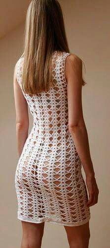 Vestido blanco,crochet.