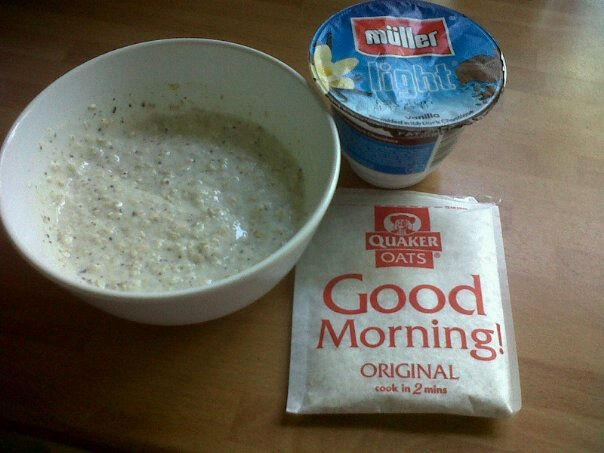 Magic Porridge    Before bed, mix 1 sachet of plain OatsoSimple or similar with a fat free yoghurt - I use Mullerlight and change the flavours. Leave it in the fridge overnight - the porridge doubles in size! You can mix this with fresh fruits or just eat it as it is.    This is a healthy extra B choice on Slimming World, great for a summer day when you don't want hot porridge!