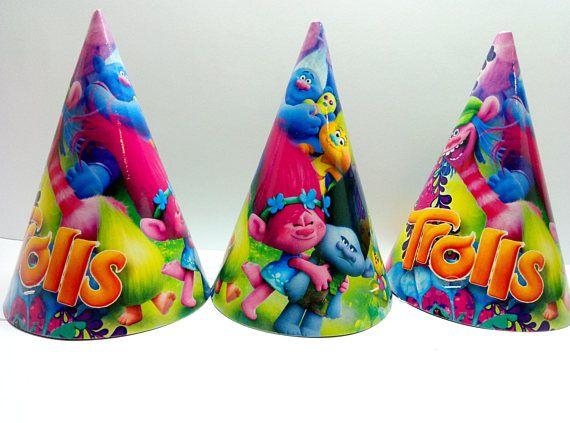Party hat Trolls 10 pcs. Festive cap for children's