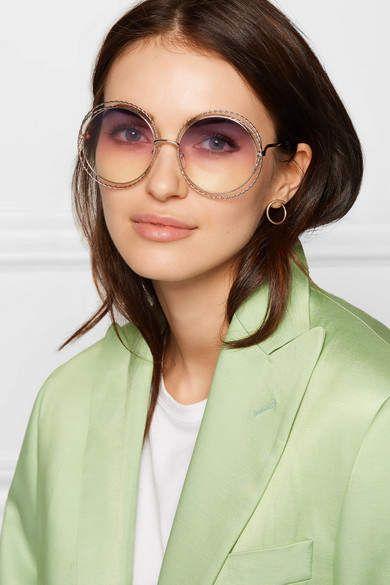 6f64816e09 Chloé - Oversized Round-frame Gold-tone Sunglasses