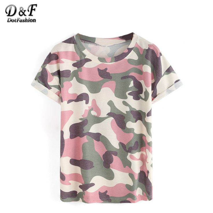 Dotfashion المرأة قمم أسلوب التمويه الصيف 2016 جديد وصول عارضة المحملات الرقبة الطاقم طباعة توالت قصير كم t-shirt