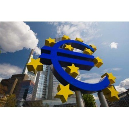 Sculpture of an Euro sign in front of a building Willy-Brandt-Platz European Central Bank Frankfurt Hesse Germany Canvas Art - Panoramic Images (36 x 24)