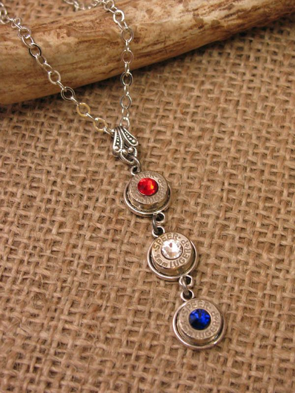 Patriotic Triple 9mm Bullet Casing Drop Necklace
