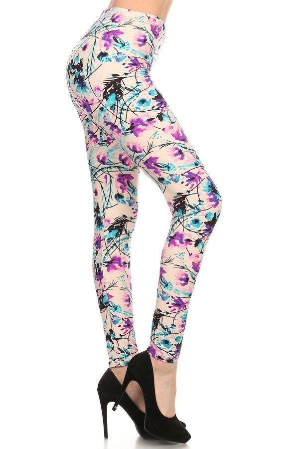Willow - gorgeous floral print legging!! purple, blue, and black on white. Love!!