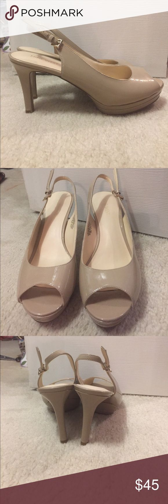 Nude peep toe patent leather high heel shoe Beautiful patent leather nude pump. Peep toe and sling back. Excellent condition - worn for 1 hour ever!! Nine West Shoes Heels