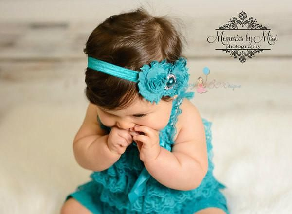 Peacock Teal Lace Petti Romper - Happy BOWtique - children's clothing, Baby Girl clothing