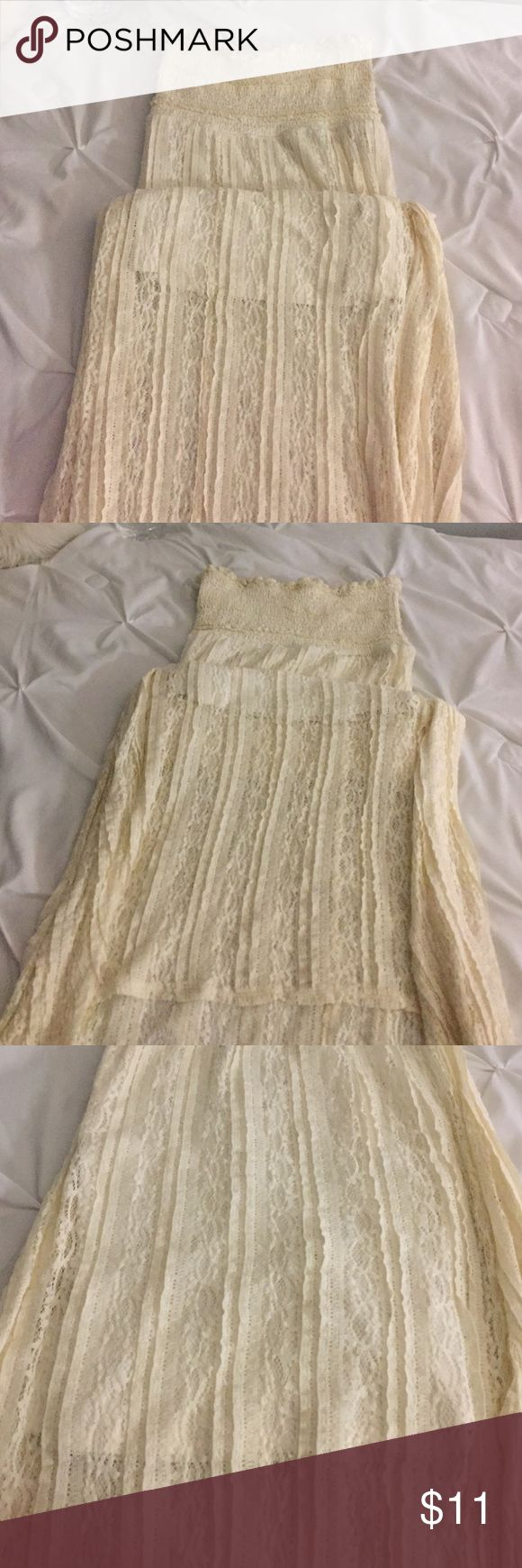 High low off white lace dress Worn one. Strapless. Off white. High low Xhilaration Dresses High Low