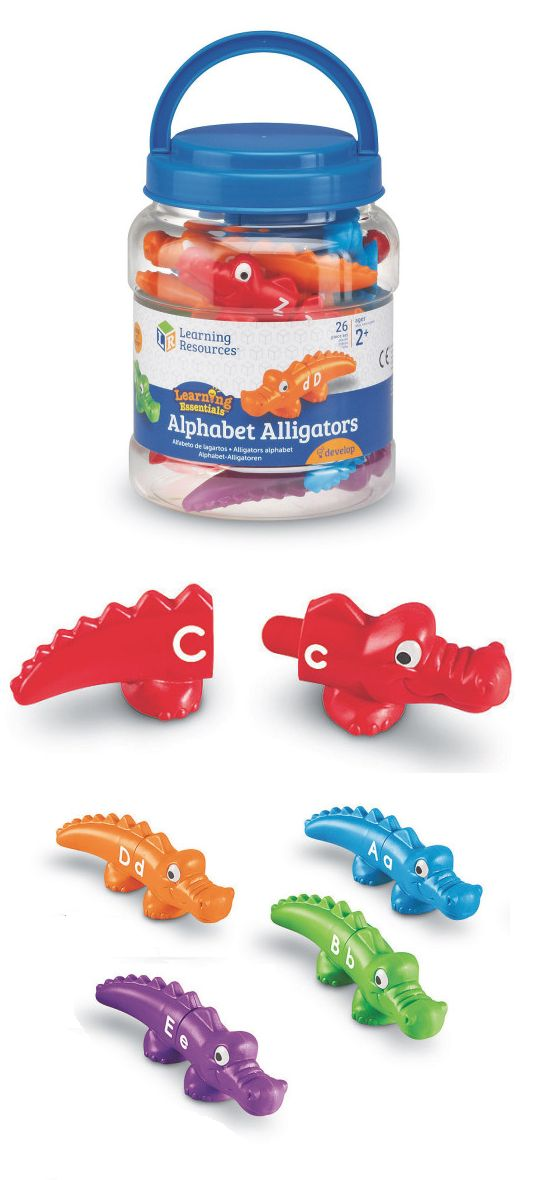 Use these alphabet alligaors to teach young learners! Snap-together pieces are easy for little hands to manage. Invites play and encourages letter recognition (uppercase and lowercase), color matching, and fine motor skills.