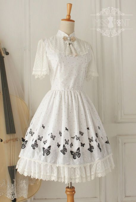 ✦✦✦ Recommendation: Miss Point Qi Lolita OP Dress with ✦Black Butterfly✦ Prints ✦✦✦ Custom Sizing Available >>> http://www.my-lolita-dress.com/elegant-white-wa-lolita-op-dress-with-black-butterfly-prints-yuan-53