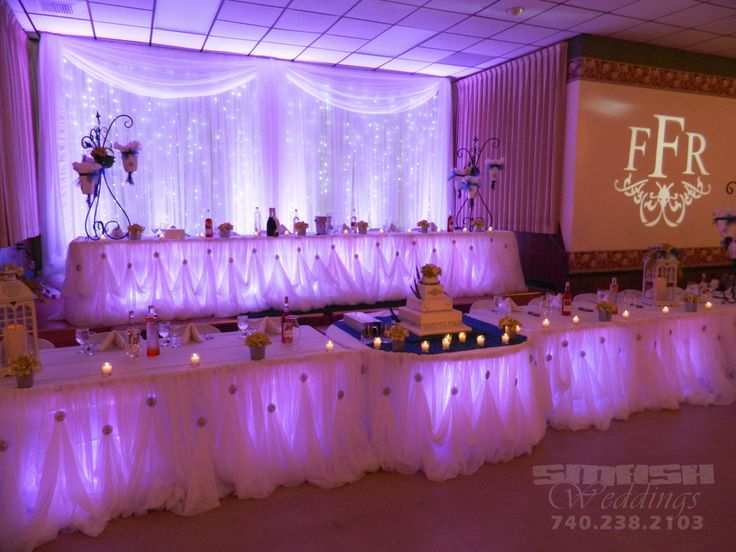 Backdrop And Head Tables For Wedding In Wellsburg Included Led Curtains Uplighting