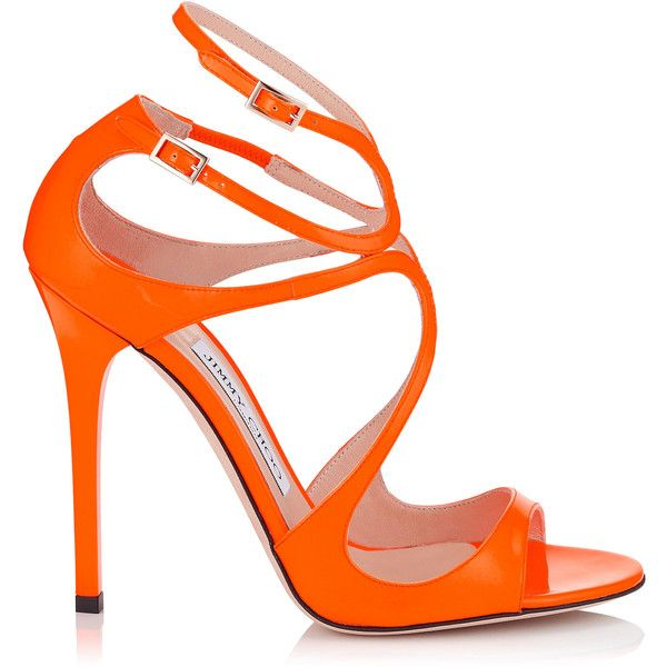 Neon Orange Patent Sandals ($710) ❤ liked on Polyvore featuring shoes, sandals, heels, orange heels shoes, neon orange shoes, orange strappy sandals, neon sandals and patent sandals