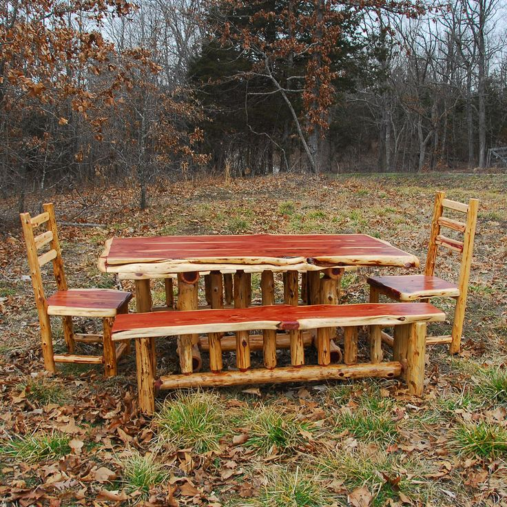 Rustic Cedar Table with benches & chairs | www.NianguaFurniture.com