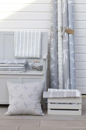 Coastal fabric. Printed linen in grey and blue tones #linen #grey linen #fabric…