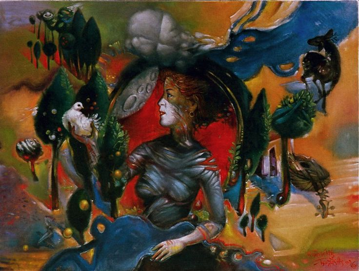 ARTEMIS PYROESSA ( DIANA OF FIRE ) –  water-colour on especially primed canvas -45Χ60, 1998-2003. - ΑΡΤΕΜΙΣ ΠΥΡΟΕΣΣΑ-45Χ60 (ἐφ᾽ὑγροῖς σέ ὓφασμα)1998-2003. Paintings by Aristomenis Tsolakis, Athens.