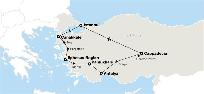 Map of tour of Turkey - 15 days