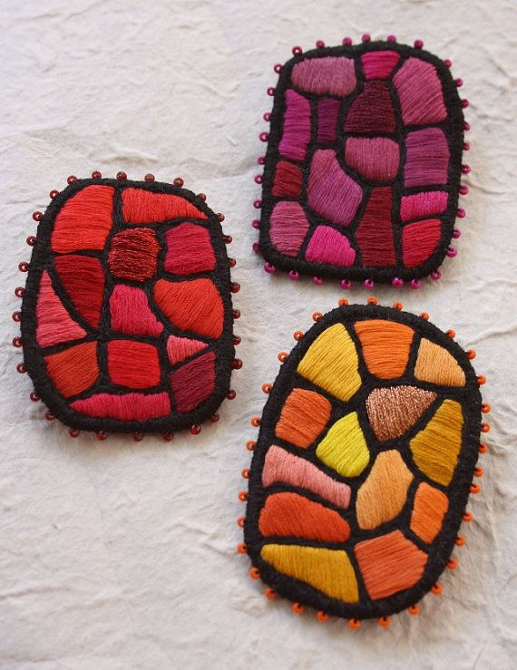 """Brooch """"Color mosaic - red"""" Those brooches are embroidered. Each brooch is handmade and ooak."""
