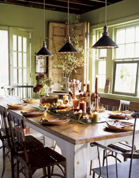 Lime green kitchen with dark brown accents