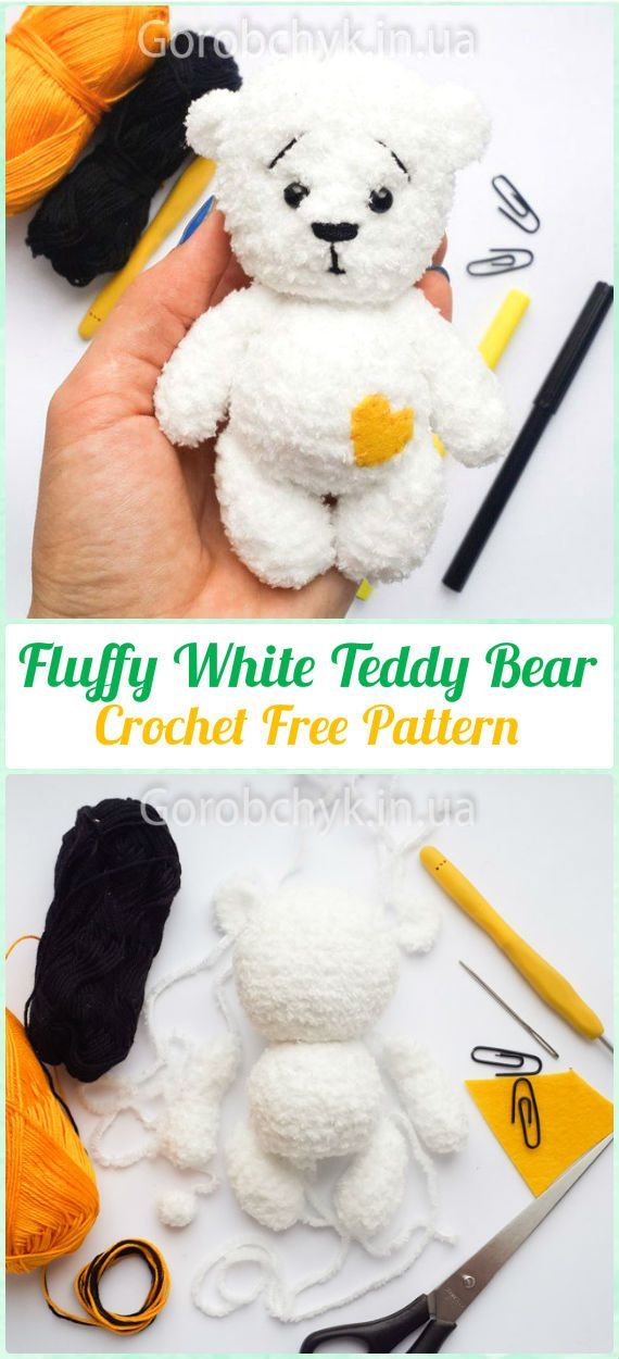 Amigurumi Crochet Fluffy White Teddy Bear Free Pattern - Amigurumi Crochet Teddy Bear Toys Free Patterns