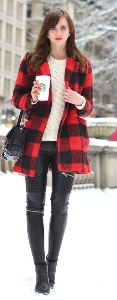 Stunning Red Tartan Coat with Leather Pant.
